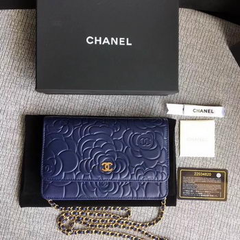 Chanel WOC Blue Camellia Leather mini Flap Bag A33814 Gold