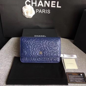 Chanel WOC Blue Camellia Leather mini Flap Bag A33814 Silver