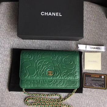 Chanel WOC Green Camellia Leather mini Flap Bag A33814 Gold