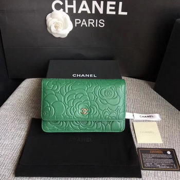 Chanel WOC Green Camellia Leather mini Flap Bag A33814 Silver