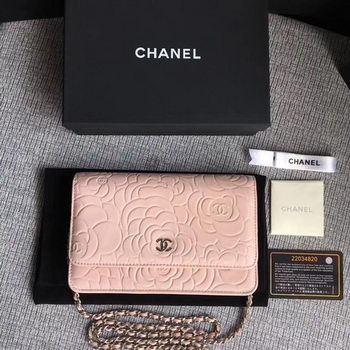 Chanel WOC Pink Camellia Leather mini Flap Bag A33814 Silver