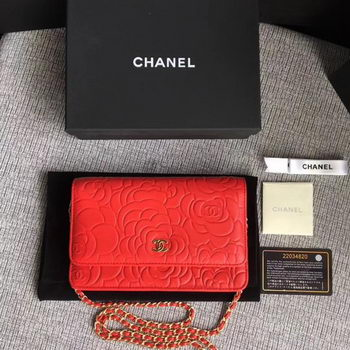 Chanel WOC Red Camellia Leather mini Flap Bag A33814 Gold
