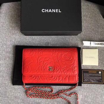 Chanel WOC Red Camellia Leather mini Flap Bag A33814 Silver