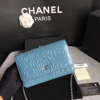 Chanel WOC Skyblue Camellia Leather mini Flap Bag A33814 Silver