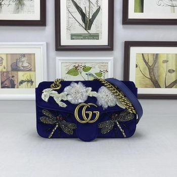 Gucci GG Marmont Embroidered Velvet mini Bag 446744 Blue