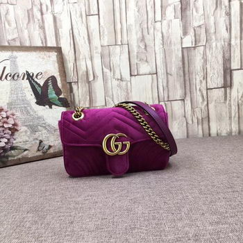 Gucci GG Marmont Embroidered Velvet mini Bag 446744T Purple