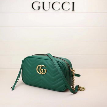 Gucci GG Marmont Matelasse Shoulder Bag 447632 Green