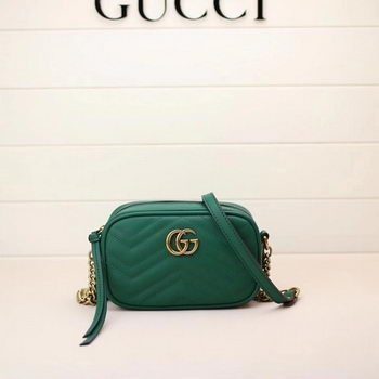 Gucci GG Marmont Matelasse mini Bag 448065 Green