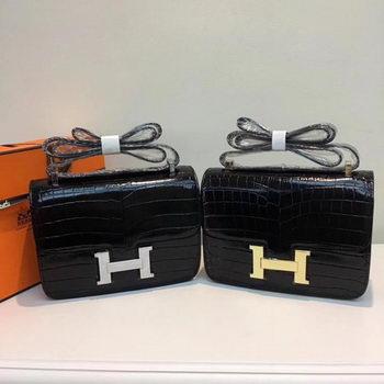 Hermes Constance Bag Croco Leather H9978C Black