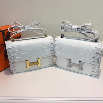 Hermes Constance Bag Croco Leather H9978C White