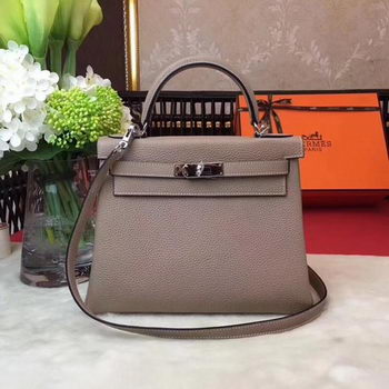 Hermes Kelly 32cm Shoulder Bag Grey TOGO Leather KY32 Silver