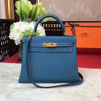 Hermes Kelly 32cm Shoulder Bag TOGO Leather KY32 Blue