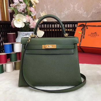Hermes Kelly 32cm Shoulder Bag TOGO Leather KY32 Green