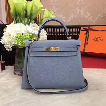 Hermes Kelly 32cm Shoulder Bag TOGO Leather KY32 Light Blue