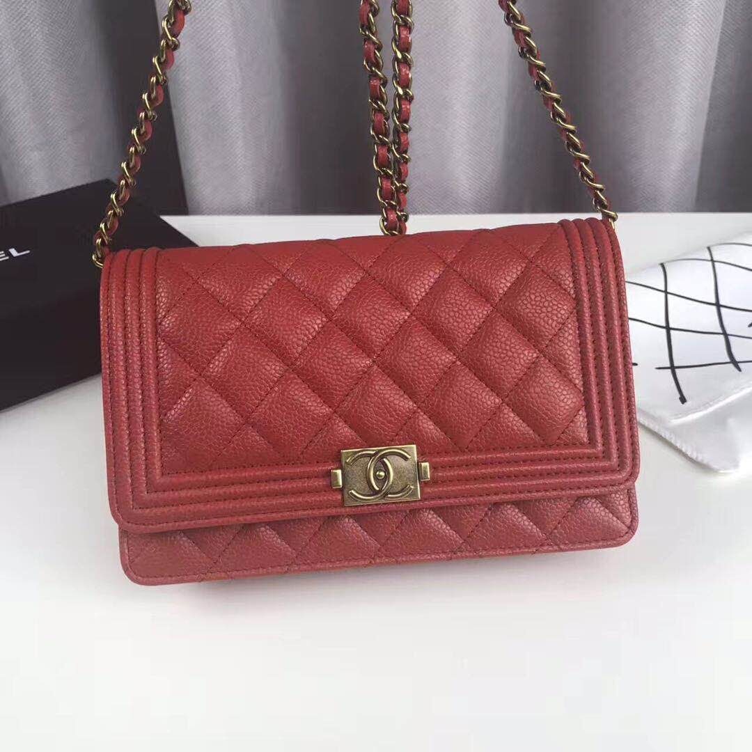 Boy Chanel Top Handle Flap Bag Original Sheepskin Leather CHA6039 Red