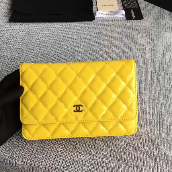 Chanel WOC Flap Bag Patent Leather A33814C Yellow