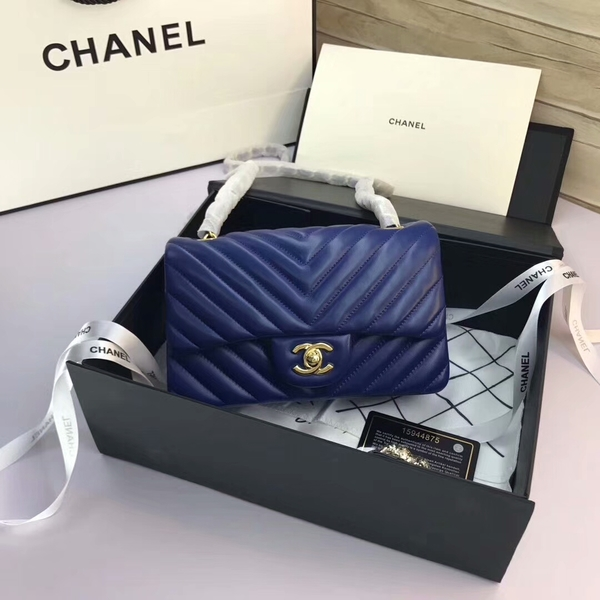 Chanel Classic Flap Bags Blue Original Sheepskin Leather 1116 Gold