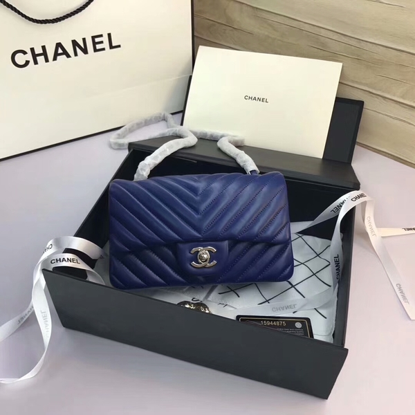 Chanel Classic Flap Bags Blue Original Sheepskin Leather 1116 Silver