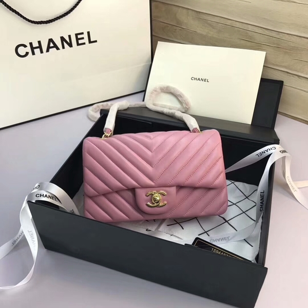 Chanel Classic Flap Bags Light Pink Original Sheepskin Leather 1116 Gold