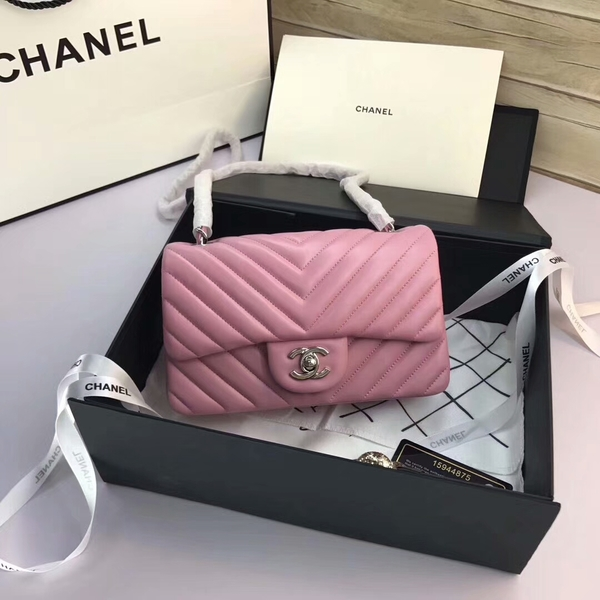 Chanel Classic Flap Bags Light Pink Original Sheepskin Leather 1116 Silver