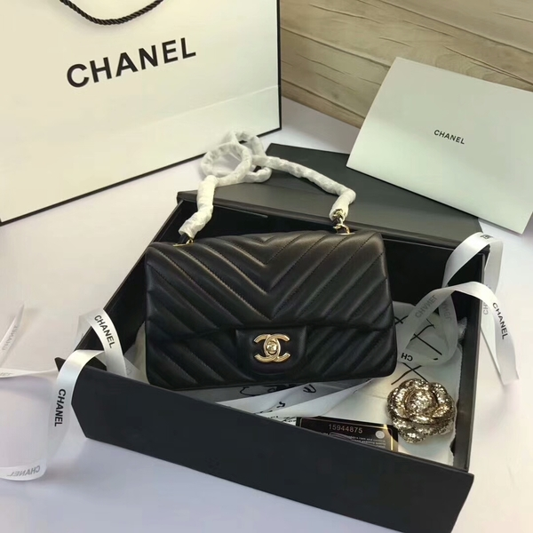 Chanel Classic Flap Bags Black Original Sheepskin Leather 1116 Gold