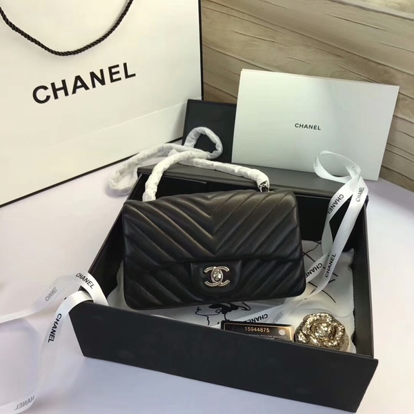 Chanel Classic Flap Bags Black Original Sheepskin Leather 1116 Silver