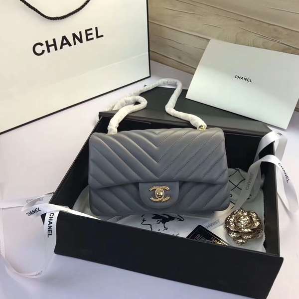Chanel Classic Flap Bags Grey Original Sheepskin Leather 1116 Gold