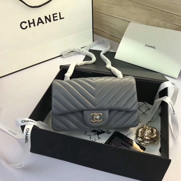 Chanel Classic Flap Bags Grey Original Sheepskin Leather 1116 Silver