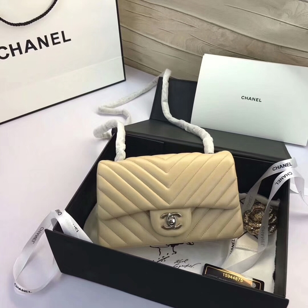 Chanel Classic Flap Bags Camel Original Sheepskin Leather 1116 Silver