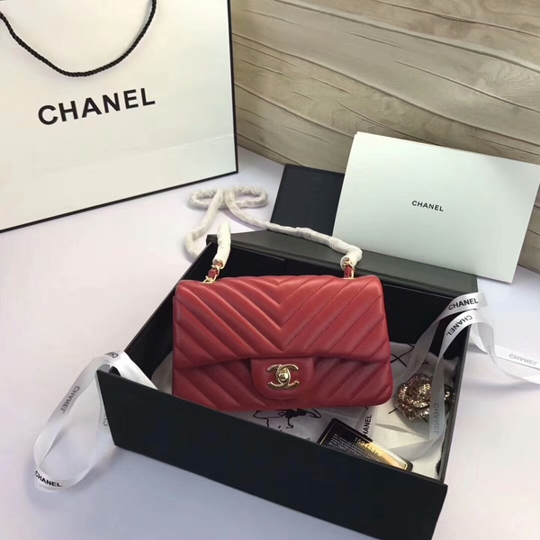 Chanel Classic Flap Bags Red Original Sheepskin Leather 1116 Gold