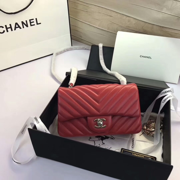 Chanel Classic Flap Bags Red Original Sheepskin Leather 1116 Silver