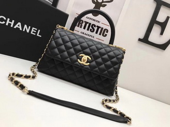 Chanel Classic Top Handle Bag Black Original Leather A92991 Gold