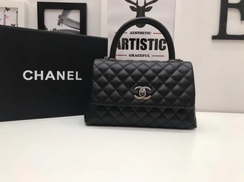 Chanel Classic Top Handle Bag Black Original Leather A92991 Silver
