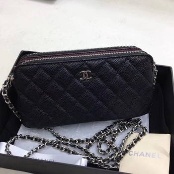 Chanel Shoulder Bag Black Cannage Pattern Leather CHA6845 Silver