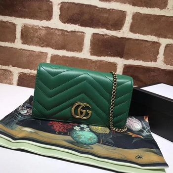 Gucci GG Marmont Matelasse mini Bag 448426 Green