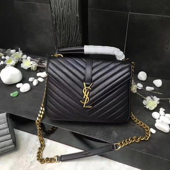 YSL Classic Monogramme Black Leather Flap Bag Y392737 Gold