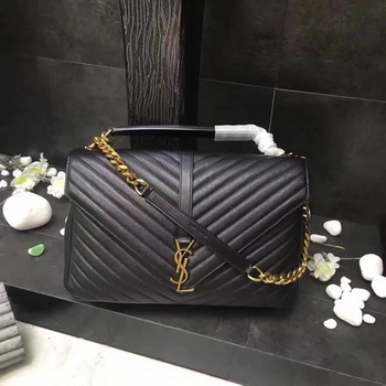 YSL Classic Monogramme Black Leather Flap Bag Y392738 Gold