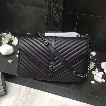 YSL Classic Monogramme Black Leather Flap Bag Y392738 Silver