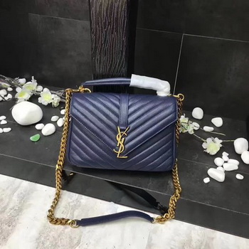 YSL Classic Monogramme Blue Leather Flap Bag Y392737 Gold
