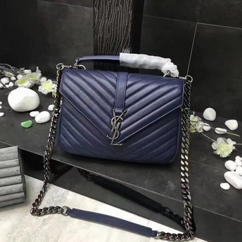 YSL Classic Monogramme Blue Leather Flap Bag Y392737 Silver