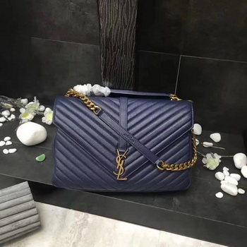 YSL Classic Monogramme Blue Leather Flap Bag Y392738 Gold
