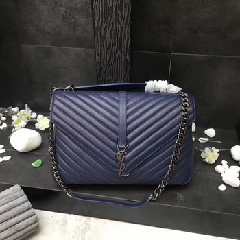 YSL Classic Monogramme Blue Leather Flap Bag Y392738 Silver