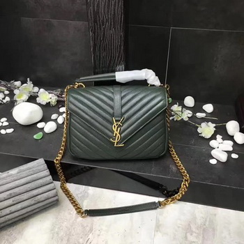 YSL Classic Monogramme Green Leather Flap Bag Y392737 Gold