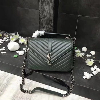YSL Classic Monogramme Green Leather Flap Bag Y392737 Silver