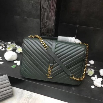 YSL Classic Monogramme Green Leather Flap Bag Y392738 Gold