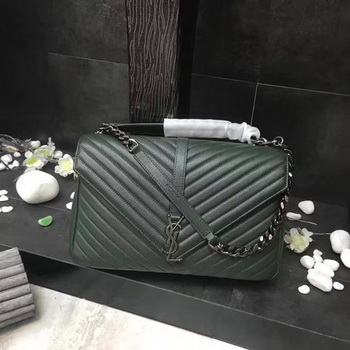 YSL Classic Monogramme Green Leather Flap Bag Y392738 Silver