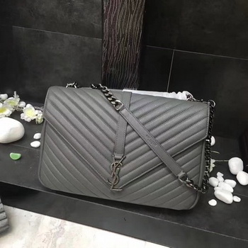 YSL Classic Monogramme Grey Leather Flap Bag Y392738 Silver