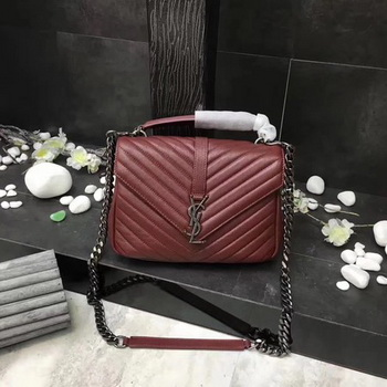 YSL Classic Monogramme Red Leather Flap Bag Y392737 Silver