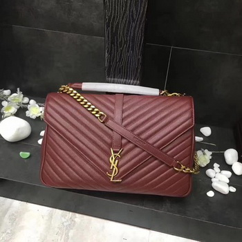 YSL Classic Monogramme Red Leather Flap Bag Y392738 Gold