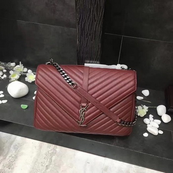 YSL Classic Monogramme Red Leather Flap Bag Y392738 Silver
